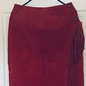Newport News burgundy leather fringes wrap skirt 8